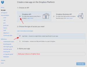 Create a Dropbox app - 1